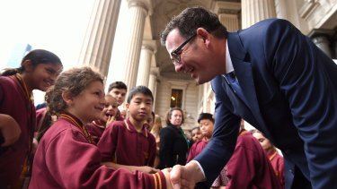 Victorian Premier Daniel Andrews announced the State Government's climate change pledge during a visit to Parliament by grade one students from Mill Park Heights Primary School.