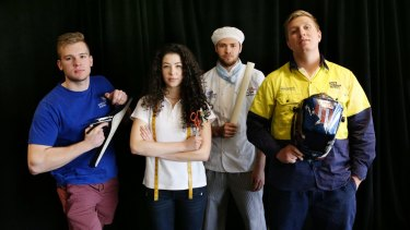 Skillaroos: Nicholas Roman (joinery), Emma Hillier (fashion technology), John Reminis (baking) and  Kallon McVicar,  (welding)