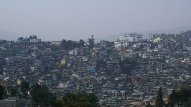 Kohima, the capital of the Indian state of Nagaland. All-male tribal bodies are responsible for social unrest which has seen the torching of government buildings and two deaths.