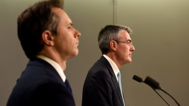 Opposition communications spokesman Jason Clare and shadow attorney-general Mark Dreyfus on Friday.