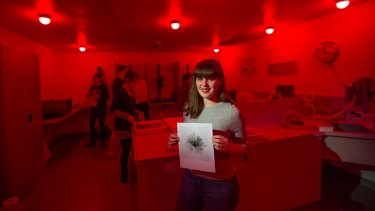 Student April Brown in the recently opened darkroom at Deakin University's Waterfront campus in Geelong.