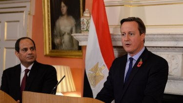 British Prime Minister David Cameron holds a news conference with Egyptian President Abdel Fattah el-Sisi at 10 Downing Street.