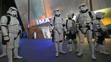 MELBOURNE, AUSTRALIA - DECEMBER 16:  Star Wars fans are seen ahead of a special 12.01am screening of Star Wars: The Force Awakens at IMAX on December 16, 2015 in Melbourne, Australia.  (Photo by Wayne Taylor/Fairfax Media)