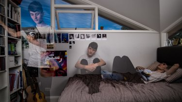 """""""We wanted to create a very raw, personal, immersive take on teenage mental health from the perspective of teenagers"""": Nick Ward in his Mosman bedroom."""