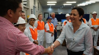 Queensland Premier Anastacia Palaszczuk met with workers at the Teys meatworks on Tuesday.?