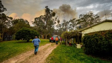 Watkins, Mathiesen and friends take a break from fighting the fire.
