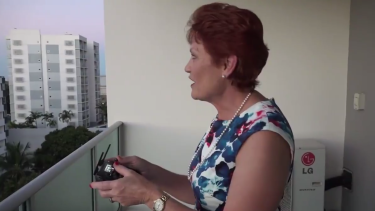 """""""You're probably wondering what I'm doing"""": Pauline Hanson flies a drone in Townsville on Wednesday."""