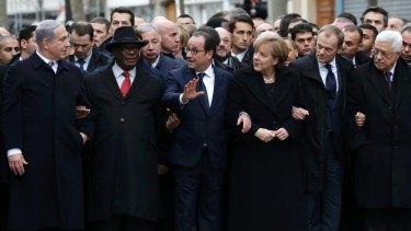 Front row: German Chancellor Angela Merkel surrounded by French President Francois Holland,  Israel's Prime Minister Benjamin Netanyahu, Mali's President Ibrahim Boubacar Keita, European Council President Donald Tusk and Palestinian President Mahmoud Abbas.