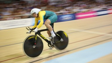 Flying: Anna Meares en route to her third gold medal in the time trial.