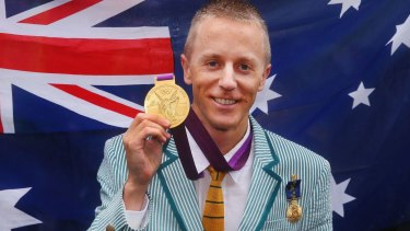 Jared Tallent with his retrospectively awarded London gold medal