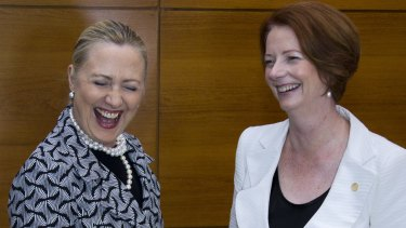 Hillary Clinton and Julia Gillard shared a laugh during a UN conference in Brazil.