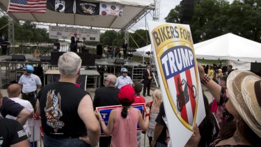Trump supporters and bikers at a Rolling Thunder rally in Washington on Sunday.