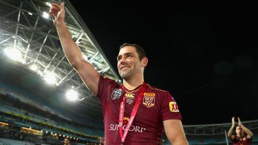 Maroons captain Cameron Smith thanks fans after winning the series.
