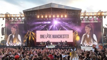 Ariana Grande performing at the One Love Manchester concert.