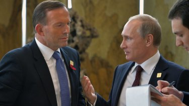 Tony Abbott and Vladimir Putin at the APEC meeting in Beijing in 2014.