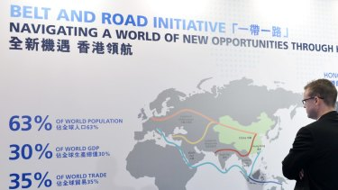 A poster promoting China's One Belt One Road initiative in Hong Kong.