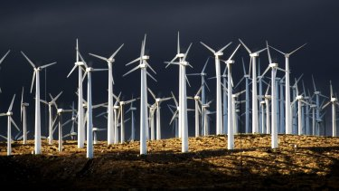 Californian wind farms: support from both sides of US politics for renewables.