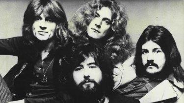 Led Zeppelin in 1975: from left, John Paul Jones, Jimmy Page (front), Robert Plant and John Bonham.