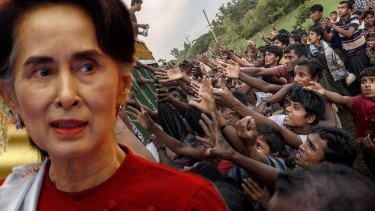 Myanmar's leader Aung San Suu Kyi superimposed on Rohingya refugees scrambling for food aid in Bangladesh.