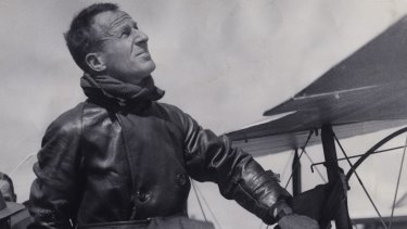 "Sir Charles Kingsford Smith with his plane ""Lady Southern Cross"", which he had wanted to call ""Anzac""."