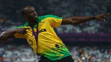 Gold medalist Usain Bolt of Jamaica celebrates.