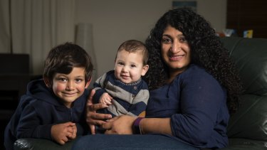 Tania Fernandes with children Myles and Theo.