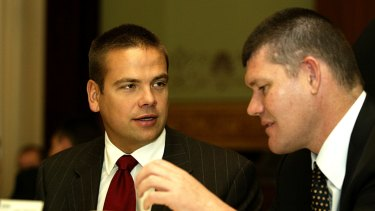 Lachlan Murdoch (left) holds 7.5 per cent of Ten and has formed an alliance with Bruce Gordon. James Packer still holds 7.7 per cent of shares.