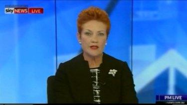 One Nation leader Pauline Hanson on Sky News on Thursday night.