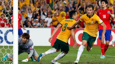 Triumph: James Troisi scores the winner in the Asian Cup final against South Korea in 2015.