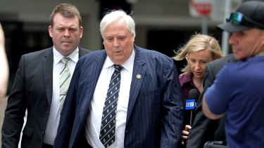 Clive Palmer arrives at the Federal Court to answer questions regarding the fall of Queensland Nickel on Thursday.