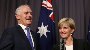 Malcolm Turnbull and Julie Bishop on Monday.