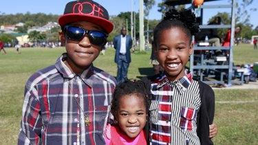 Siblings Biggy, Nina and Linda Igwabi from Congo who now live Marsden.