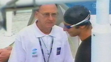 The moment: John Keppie informs Ian Thorpe of his disqualification.