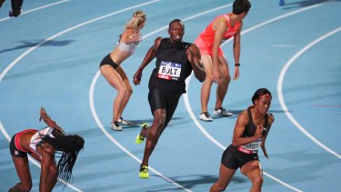 Usain Bolt competes in a mixed relay during the 2017 Nitro Athletics Series at Lakeside Stadium in Melbourne in February. The 4x400m mixed relay will debut at the Tokyo Olympics.