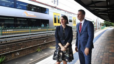 Premier Gladys Berejiklian and Transport Minister Andrew Constance at Central Station on Wednesday.