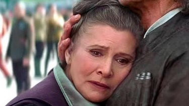 Forlorn: Carrie Fisher back as Princess Leia in <i>Star Wars: The Force Awakens</i>.