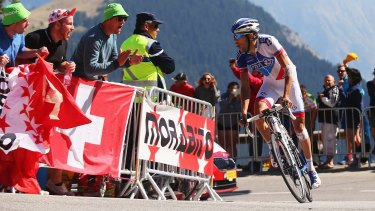 Thibaut Pinot of France and FDJ rides up the Alpe d'Huez .