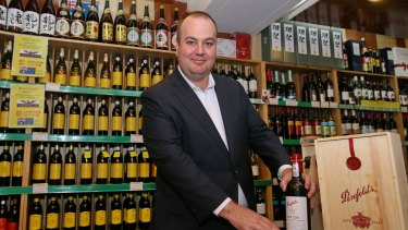 Peter Dixon of Treasury Wine Estates with Australian wines at Jenny Lou's Shop in Beijing.