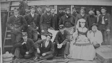 Dressed for sea: Maud Berridge on the deck of the Walmer Castle in 1869 with the crew.