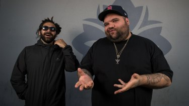 Australian Hiphop duo A.B. Original after winning the AMP (Australian music prize). They are Trials a Ngarrindjeri man and Briggs a Yorta Yorta man.