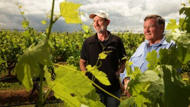 Do global clouds loom for international trade? Brokenwood Wines winemaker Iain Riggs and viticulturist Kieth Barry in the vineyard. Australian wine exports to China leapt 50 per cent this year.