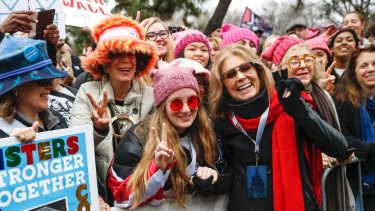 Gloria Steinem and protesters at the Women's March in Washington.