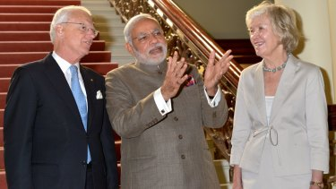 Meeting of minds: Indian PM Narendra Modi with Victorian Governor Alex Chernov, and his wife Elizabeth Chernov.