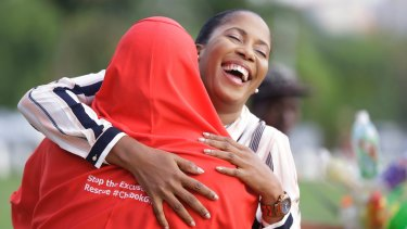 'Bring Back Our Girls' campaigners celebrate the release of the kidnapped Chibok school girls.