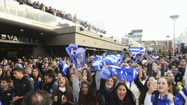 Soccer excitement: Thousands crowned the Eaton Mall in Oakleigh for Greece's game against Costa Rica in this year's World Cup.