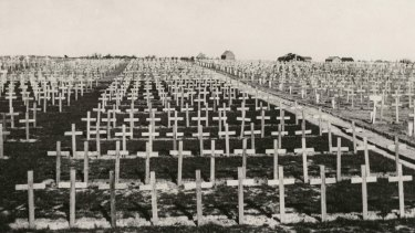 The Tyne Cot Cemetery in Passchendaele, Belgium pictured in an undated photo taken either during or after the Passchendaele battle.
