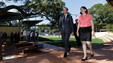 Premier Gladys Berejiklian and Education Minister Rob Stokes at the school on Monday.