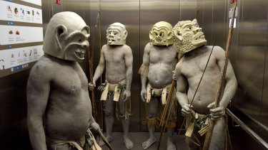 The Asaro Mud Men are in residence at the Australian Museum for the school holidays.
