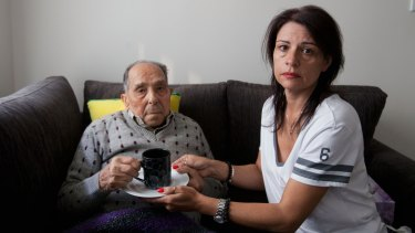 Domenica Vevile with her father Giovanni who needs care at his home in Wetherill Park.