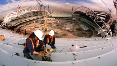 The ANZ Stadium in Homebush being built for the 2000 Games.